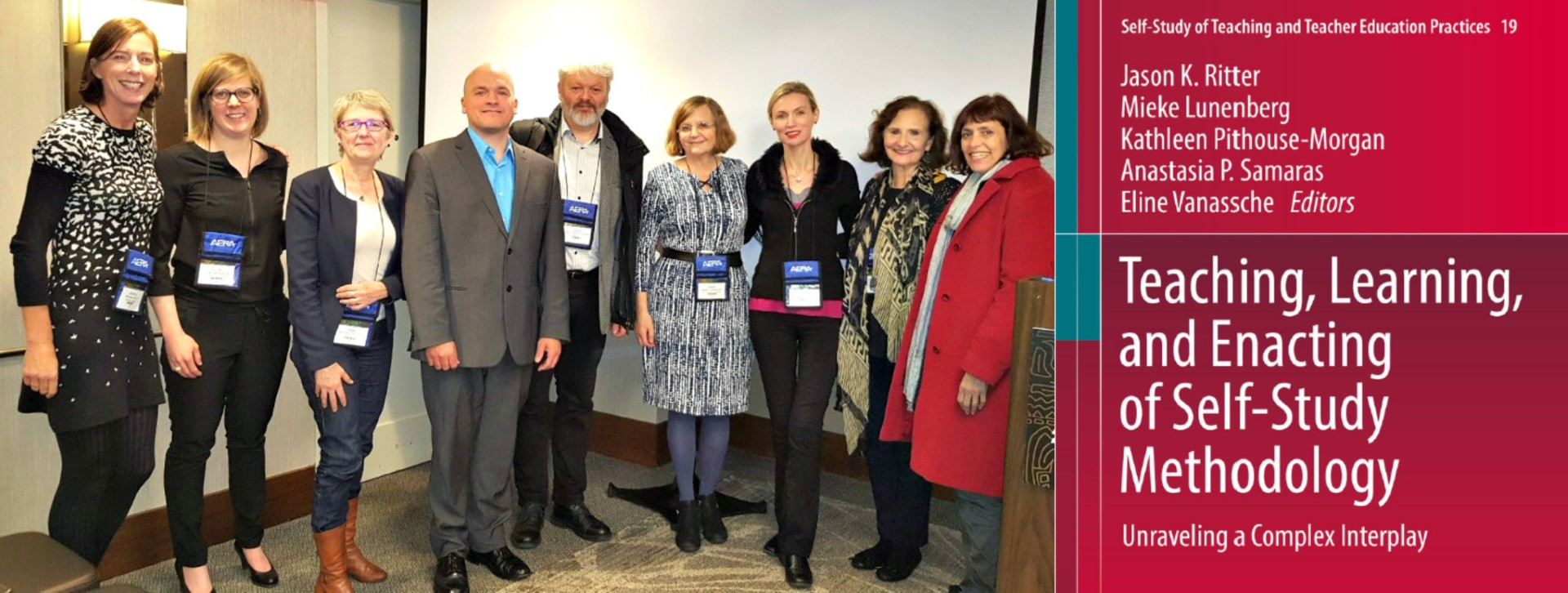 Professor Kathleen Pithouse-Morgan (third right) with international presenters and participants at the AERA 2018 symposium in which she discussed the book Teaching, learning, and enacting of self-study methodology: Unraveling a complex interplay.