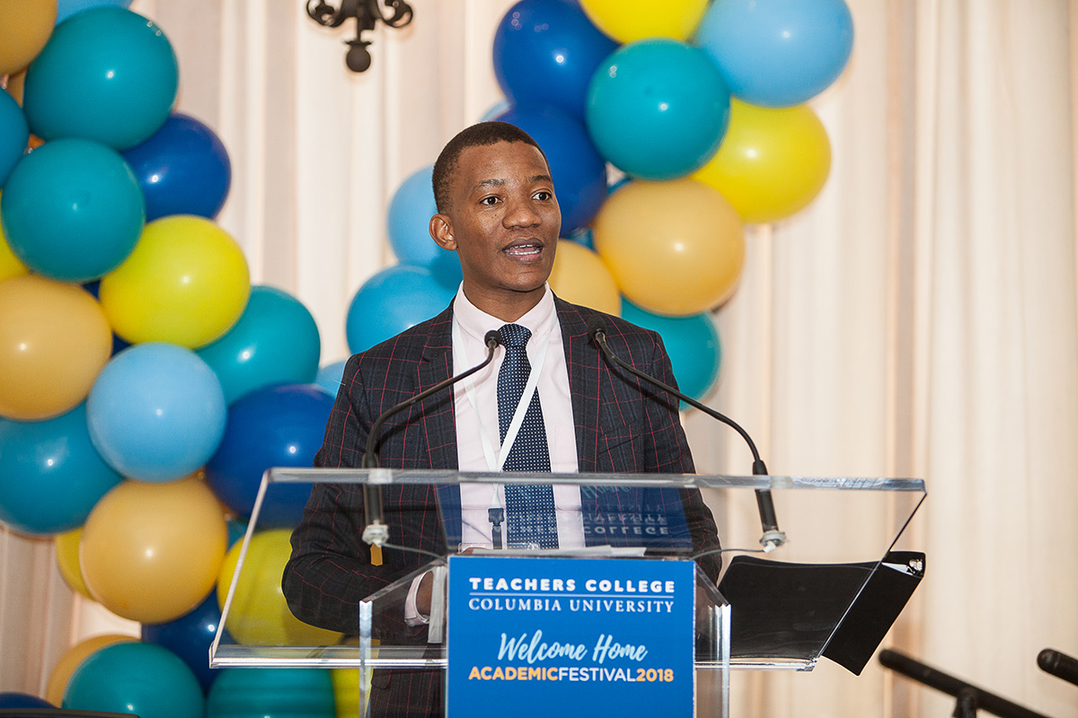 Professor Thabo Msibi receives the Early Career Award from Teachers College: Columbia University.