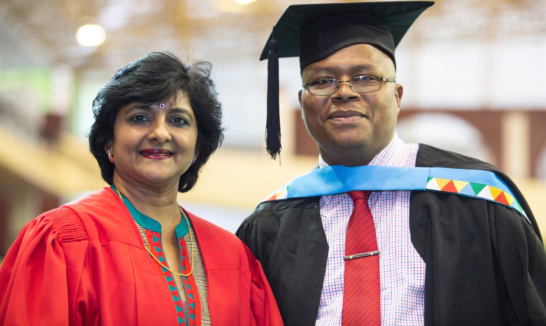 Master's in Education graduate Mr Sylvester Mbatha with his supervisor Dr Jaqueline Naidoo.