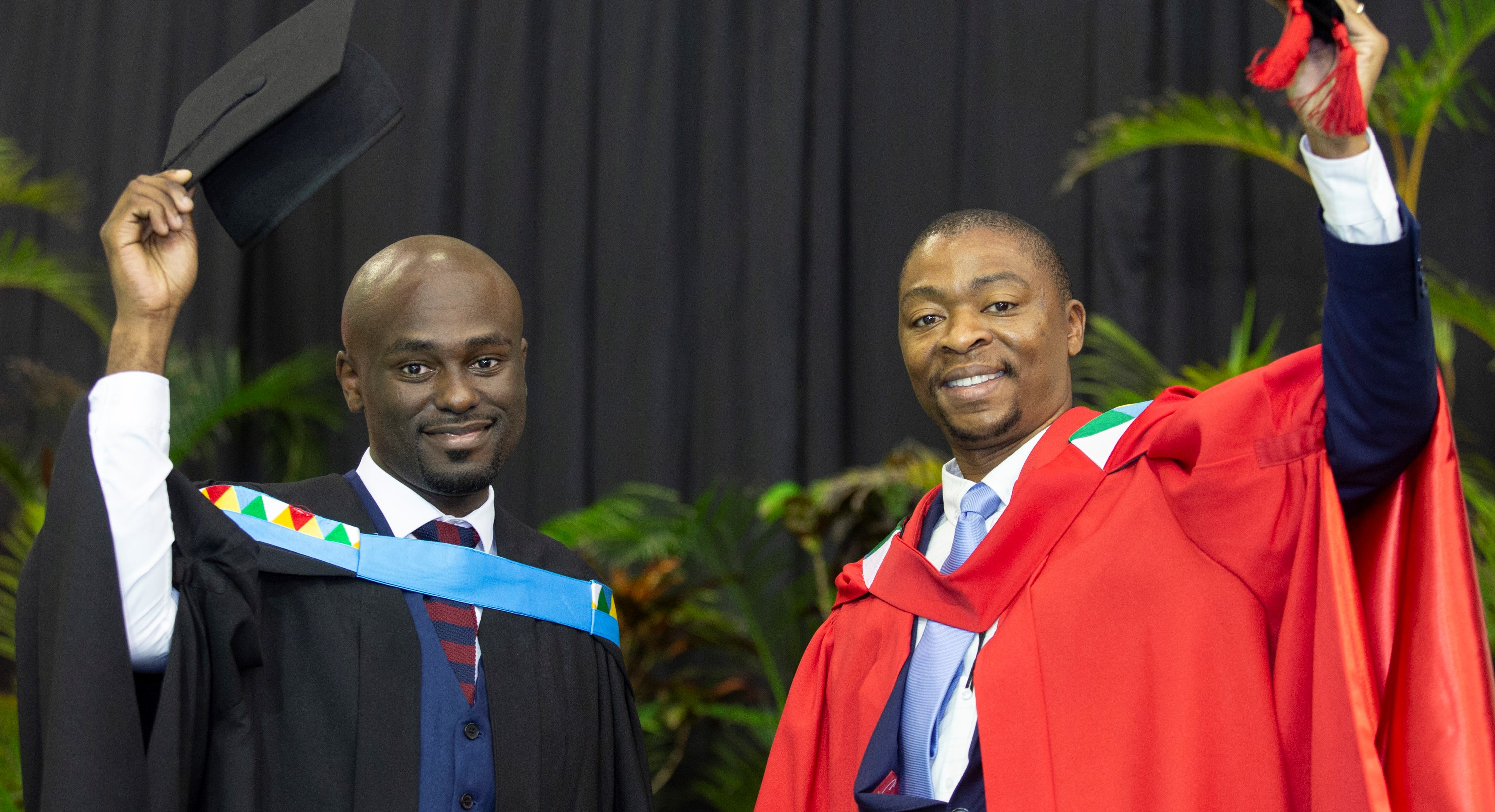 Dr Sibonelo Blose and his student Mr Ndumiso Khuzwayo graduated from UKZN with their PhD and Masters in Education respectively.