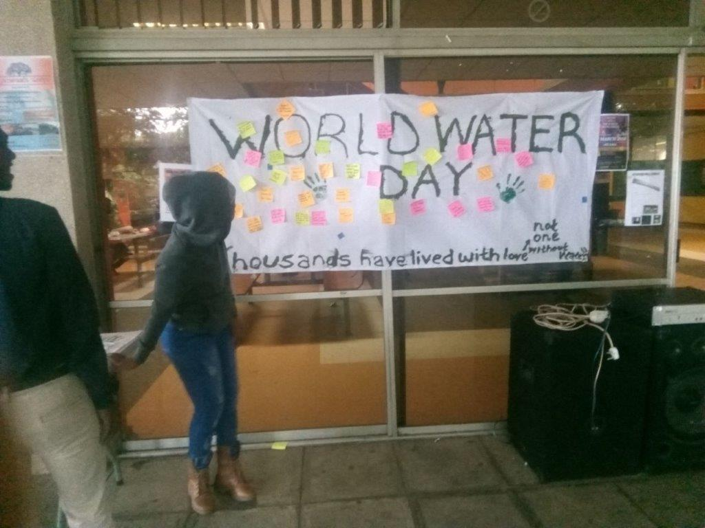 Members of the Edgewood Environmental Forum celebrating World Water Day at the Edgewood Campus on the 22nd of March 2018.