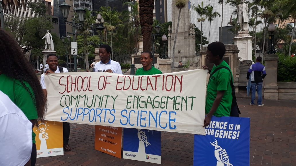 The School of Education, Edgewood Campus, College of Human of Humanities supported the March for Science 2018.