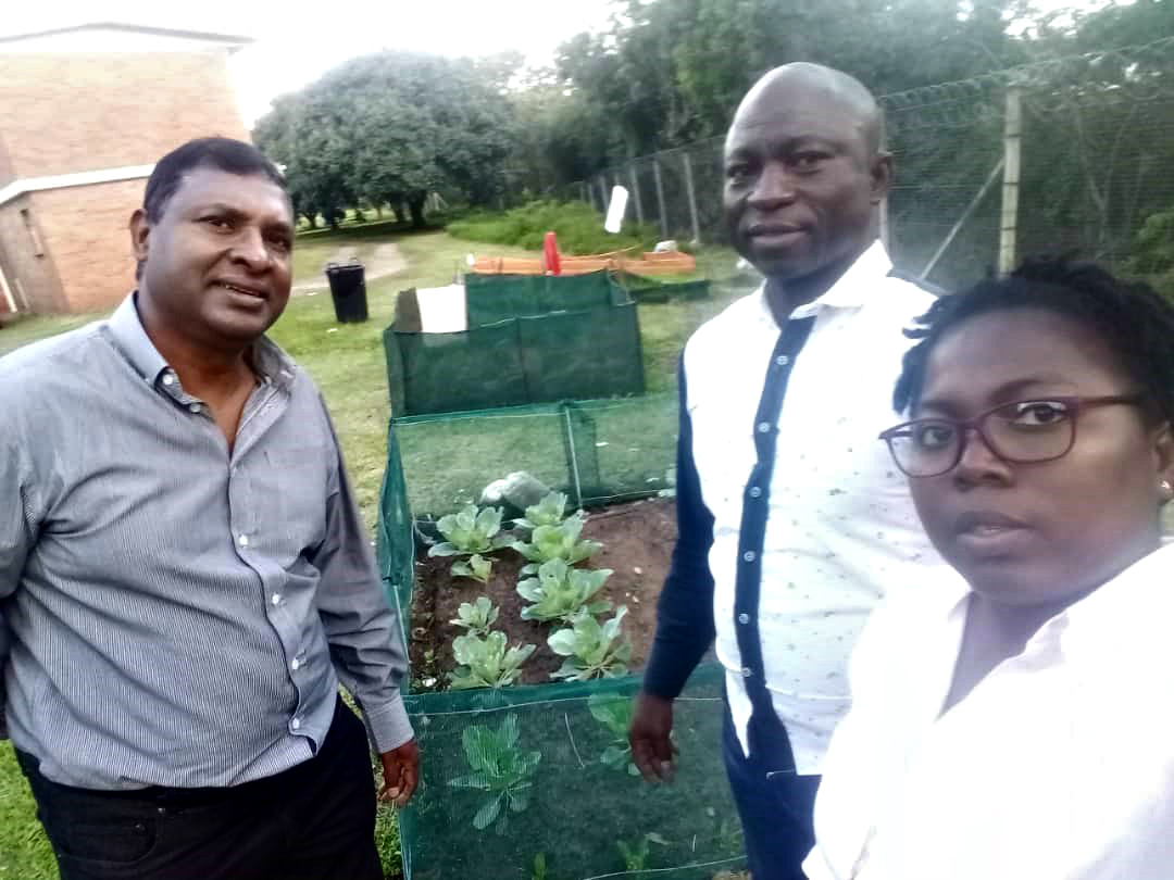 Together at an agricultural garden project are (from left) Professor Nadaraj Govender, Mr Daniel Allu and Ms Susan Olaniyan.