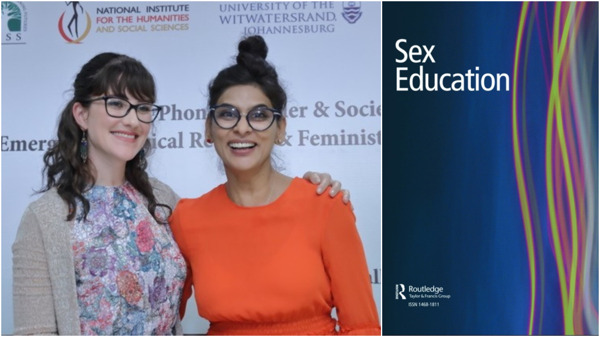 Professor Deevia Bhana (right) with her former student Ms Nicolette Carboni whose work also appears in the Sex Education journal.