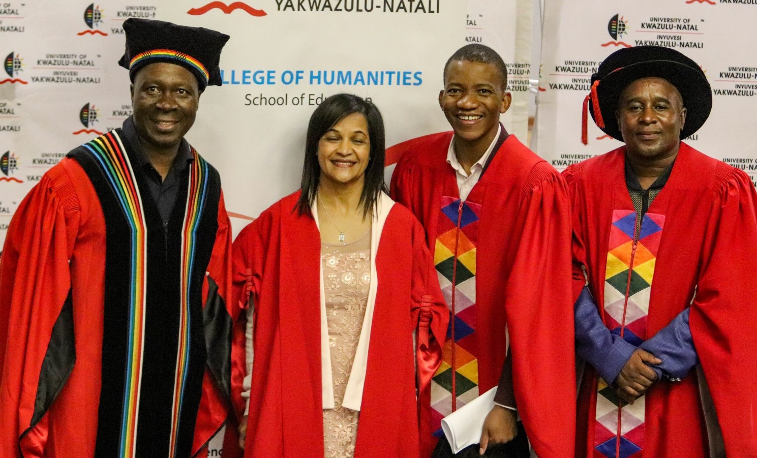 From left: DVC and Head of the College of Humanities Professor Nhlanhla Mkhize; Professor Sarah Bansilal; Dean and Head of the School of Education Professor Thabo Msibi and College Dean of Research Professor Pholoho Morojele.