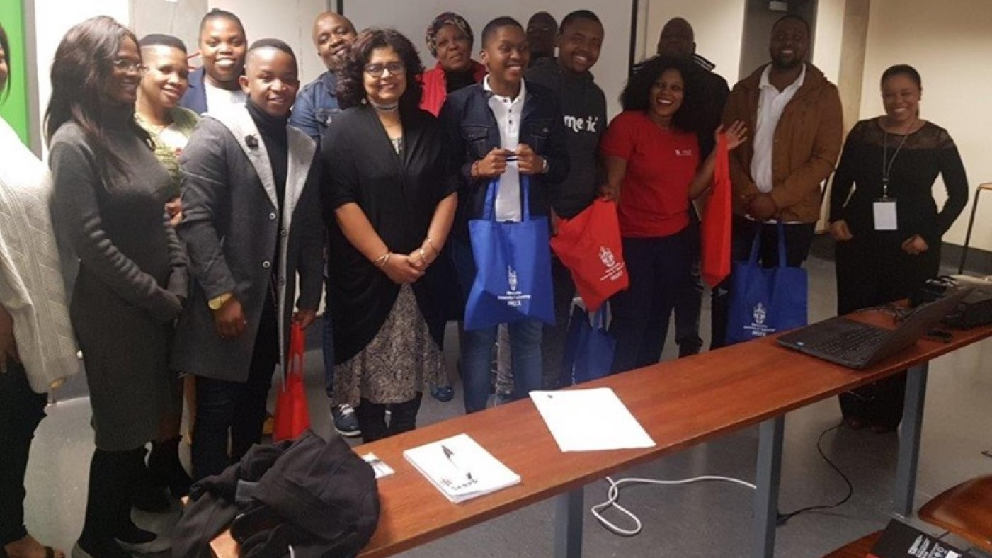 MUT's Professor Busisiwe Nkonki-Mandleni (extreme right) and Dr Angela James (front row, third left) with UKZN students and MUT staff.