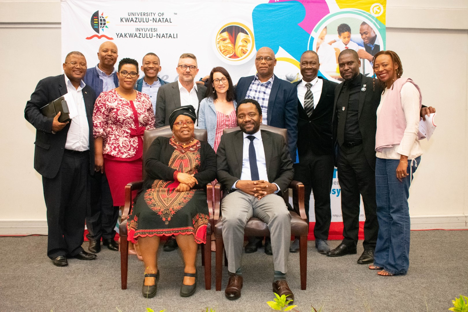 Dr Bongani Ngqulunga (seated right) with UKZN staff members at the John Dube Memorial Lecture