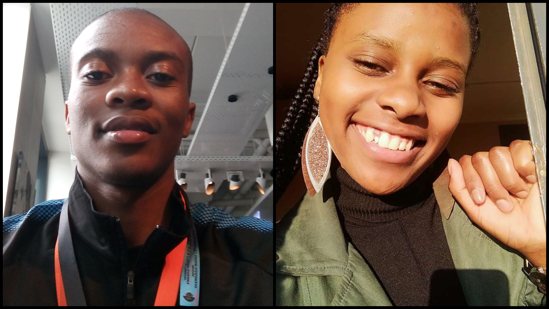 Mr Luthando Molefe of UKZN and Ms Kgotsofalang Mei of the University of Fort Hare