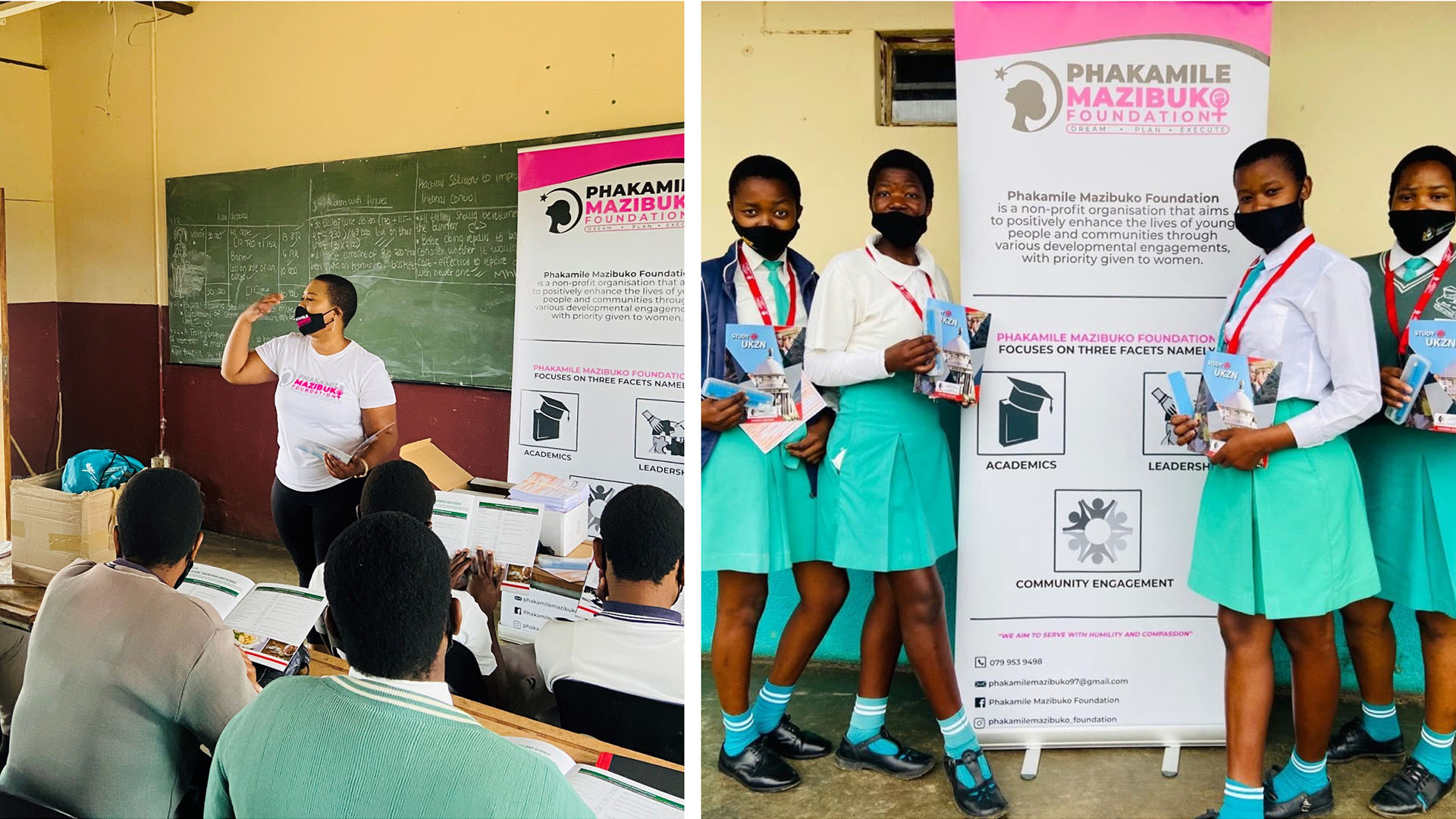 Highlights from a career guidance event, hosted by education student Ms Phakamile Mazibuko.