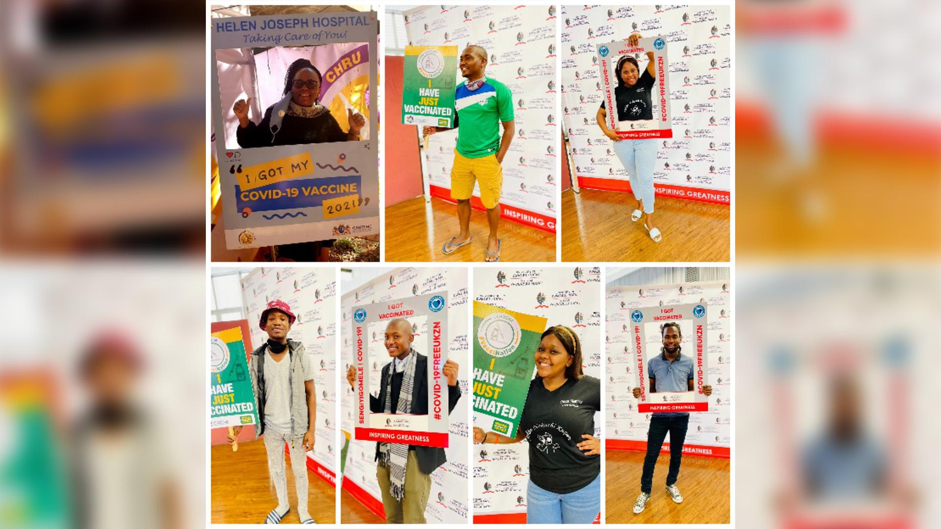Clockwise from top left: Mrs Sisana Machi, Mr Teboho Hlao, Ms Malerato Jafta, Mr Johnson Mthembu, Ms Precious Khawula, Mr Bulelani Chiya, and Mr Lusanda Radebe.